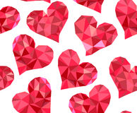 Valentine's day vector seamless pattern with red polygonal hearts made of different multicolored shapes Royalty Free Stock Image