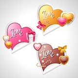 Valentine's Day vector stickers. Origami speech Royalty Free Stock Photo