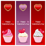 Valentine s Day Vertical Banners. A collection of three vertical banners wishing a happy St. Valentines or Saint Valentine s Day, with hearts and sweet cupcakes Stock Photos