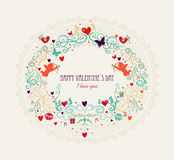 Valentine`s day vintage elements composition Stock Photography