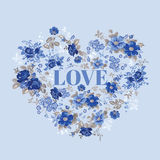 Valentine's Day Vintage Floral Heart Stock Photos