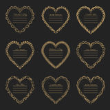 Valentine`s Day vintage frames on background. Valentine`s Day vintage gold frames on black background Royalty Free Stock Image