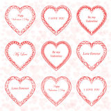 Valentine`s Day vintage frames on background. From hearts Stock Images