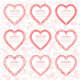Valentine`s Day vintage frames on background. From hearts Royalty Free Stock Image