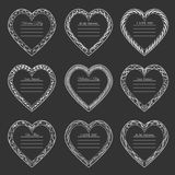 Valentine`s Day vintage frames on background. Valentine`s Day vintage isolated frames on dark background Stock Photos