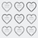 Valentine`s Day vintage frames on background. Valentine`s Day vintage isolated frames on white background Stock Photography
