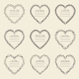Valentine`s Day vintage frames on background. Valentine`s Day vintage frames on retro background Royalty Free Stock Photos