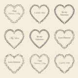 Valentine`s Day vintage frames on background. Valentine`s Day vintage frames on retro background Royalty Free Stock Images
