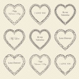 Valentine`s Day vintage frames on background. Valentine`s Day vintage frames on retro background Stock Photo