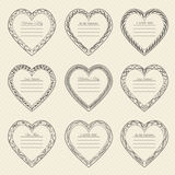 Valentine`s Day vintage frames on background. Valentine`s Day vintage frames on retro background Royalty Free Stock Image