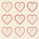 Valentine`s Day vintage frames on background. Valentine`s Day vintage frames on retro background Stock Image
