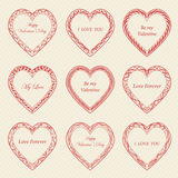 Valentine`s Day vintage frames on background. Valentine`s Day vintage frames on retro background Royalty Free Stock Photography