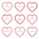 Valentine`s Day vintage frames on background. Valentine`s Day vintage frames on white background Stock Photos
