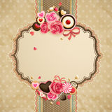 Valentine`s Day vintage lace card Stock Photography