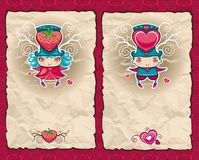 Valentine's day vintage paper stock illustration