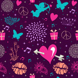 Valentine`s day vintage seamless pattern design Stock Images