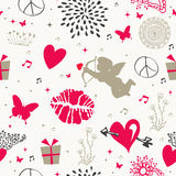 Valentine`s day vintage seamless pattern Stock Photography