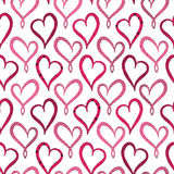 Valentine`s Day Violet Hearts Seamless pattern. On white background Royalty Free Stock Photography