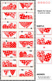 Valentine's Day visual puzzle - match the halves - hearts. Valentine's Day themed visual puzzle: Match the halves of picture cards with decorative hearts. Answer stock illustration