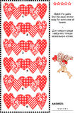 Valentine's Day visual riddle with rows of decorative hearts. Valentine's Day themed visual logic puzzle (suitable both for kids and adults): Match the pairs vector illustration