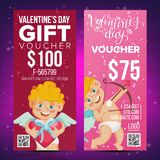 Valentine s Day Voucher Design Vector. Vertical Discount. February 14. Valentine Cupid And Gifts. Love Advertisement. Valentine s Day Voucher Coupon Template Stock Illustration