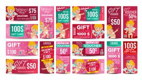 Valentine s Day Voucher Gift Design Vector. Set Horizontal Vertical Discount. Happy Valentine Cupid And And Gifts Stock Images
