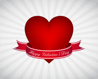 Valentine's day wallpaper. With heart and ribbon on rays background Stock Photography