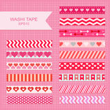 Valentine`s Day washi tape. Cute Valentine`s Day decorative washi tape strips stock illustration