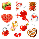 Valentine`s Day. Watercolor clipart Royalty Free Stock Photos