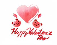 Valentine's day in watercolor royalty free stock photos