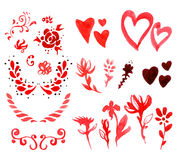 Valentine`s Day watercolor design elements Stock Image