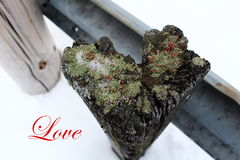 Valentine's day: weathered Wooden Post heart-shaped. With the word love Royalty Free Stock Photos