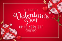 Valentine`s Day Web Banner For Sale. Top View. Romantic Composition With Gift Box Of Heart And Rose Flower. 3D Hearts. Special Royalty Free Stock Photography