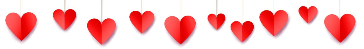 Valentine`s day web banner. With paper hearts Stock Photo