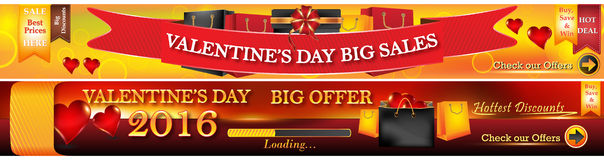 Valentine's Day 2016 web banners. Royalty Free Stock Photos
