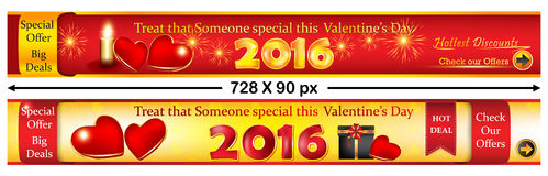 Valentine's Day web banners. Stock Photo