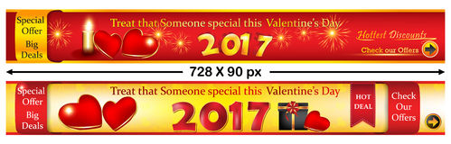 Valentine`s Day web banners. Stock Image
