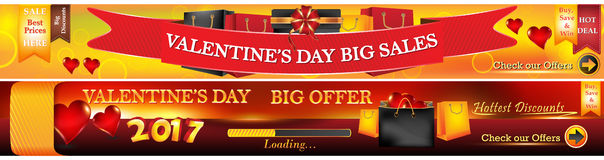 Valentine`s Day web banners. Royalty Free Stock Photography