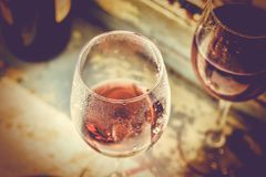 Valentine`s Day, wedding anniversary, betrothal, Two glasses of. Two glasses of red wine. Concept: love meeting, copy space royalty free stock images
