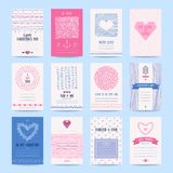 Valentine`s day, Wedding Invitation Card Templates. Valentine`s day, wedding invitation, romantic love cards. Hipster templates collection with hand drawn Royalty Free Stock Photos