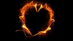 Fire glowing heart on isolated black background. Heart shape with copyspace. stock illustration