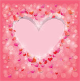 Valentine's day or Wedding pink background. With Red hearts confetti and lights. Holidays frame, love abstract backdrop vector illustration