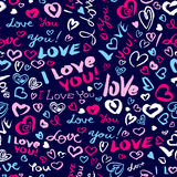 Valentine`s day or wedding seamless pattern with hearts and I Lo. Ve You hand drawing lettering. Doodle artistic background in blue and pink colors royalty free illustration