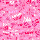 Valentine`s day or wedding seamless pattern with hearts and I Lo Royalty Free Stock Photos