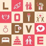 Valentine's day and wedding symbol. Valentine's day and wedding icons set Stock Photo
