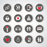 Valentine's day and wedding symbol. Valentine's day and wedding icons set Royalty Free Stock Image