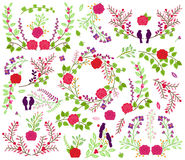 Valentine's Day or Wedding Themed Laurel and Floral Vector Collection Stock Image