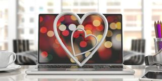 Valentine`s day. White attached hearts on a computer, blur office background. 3d illustration. Valentine`s day concept. White attached hearts on a laptop, blur Stock Photo