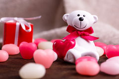 Valentine's day. White bear Stock Photos