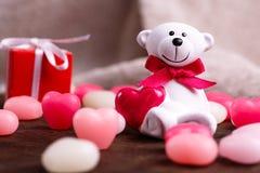 Valentine's day. White bear Stock Photos